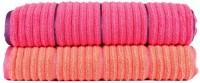 Casa Copenhagen Solid Ribbed Zero Twist Fusion Coral & Honey Suckle Bath Towel Set (2 Bath Towel, Orange, Pink)