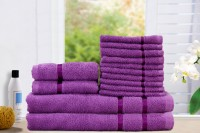 Story@home Cotton Bath, Hand & Face Towel Set 2 Bath Towel, 2 Hand Towel, 10 Face Towel, Purple