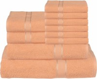 RR Textile House Cotton Bath, Hand & Face Towel Set Bath Towel 1, Ladies Towel 2, Hand Towel 6, 1 Face Towel, Beige
