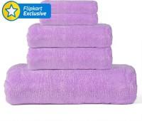 Cortina Cotton Bath, Hand & Face Towel Set 1 Towel, 2 Face Towel, 2 Hand Towel, Purple