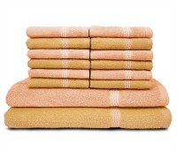 Swiss Republic Cotton Bath & Face Towel Set (2 Bath Towels, 12 Face Towels, Light Brown, Light Pink)