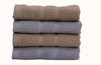 Divine Overseas Cotton Hand Towel Set (4 Piece Premium Hand Towel Set, Light Grey & Light Brown (Combo))