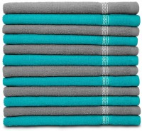 Swiss Republic Cotton Hand Towel Set 12 Hand Towels, Light Blue, Light Grey
