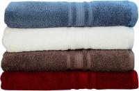 Rakshan Cotton Bath Towel Set (Pack Of Towel 4, Blue, Cream, Grey, Red)