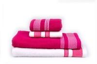 RR Textile House Cotton Bath Towel, Hand Towel, Face Towel Set 1 Bath Towel, 1 Ladies Towel, 2 Hand Towel, 2 Face Towel, Pink