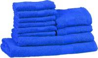 Trident Neon Cotton Bath, Hand & Face Towel Set (1 Bath Towel, 1 Ladies Bath Towel, 2 Hand Towels, 6 Face Towels, Blue)