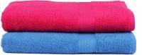 Trident Cotton Set Of Towels 2 Women Bath Towel, Blue, Pink
