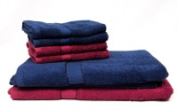 Trident Cotton Bath & Hand Towel Set 2 Bath Towels 30x60 Inches, 4 Hand Towels 16x24 Inches, Dark Blue, Maroon