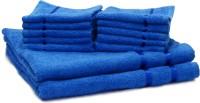 Story@home Cotton Bath & Hand Towel Set 2 Bath Towel And 10 Face Towel, Blue