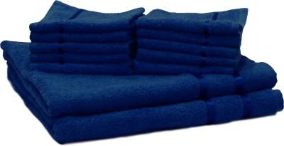 Story@home Cotton Bath & Hand Towel Set 2 Bath Towel And 10 Face Towel, Dark Blue