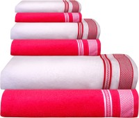 Creative Terry Cotton Bath, Hand & Face Towel Set Bath Towel Set Of 6 Pc, Red & White