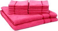 Story@Home Cotton Bath & Face Towel Set 2 Bath Towel And 10 Face Towel, Pink