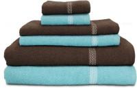 Swiss Republic Cotton Bath, Hand & Face Towel Set 2 Bath Towels, 2 Hand Towels, 2 Face Towels, Light Blue, Dark Brown