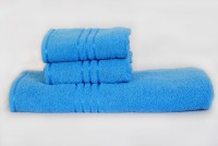 Trident Cotton Bath & Hand Towel Set 1 Bath, 2 Hand Towel, Light Blue