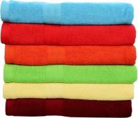 Rakshan Cotton Bath Towel Set (Pack Of Towel 6, Blue, Red, Orange, Green, Cream, Maroon)