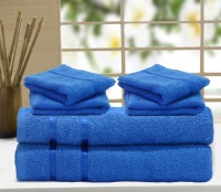 Story@home Cotton Bath & Hand Towel Set 2 Pc Bath Towel, 4 Pc Hand Towel, Blue