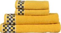 RR Textile House Cotton Bath, Hand & Face Towel Set 4, Yellow