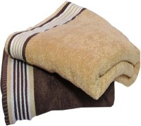 Bigshoponline Cotton Bath Towel Set 2 Bath Towels, Beige, Brown, Beige, Brown