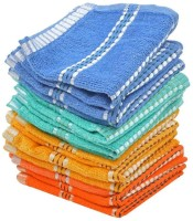 ShopSince Cotton Face Towel Multicolor Cotton Knitted Terry Stripes Face Towels - Set Of 12, Multicolor