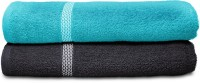 Swiss Republic Cotton Bath Towel (2 Bath Towels, Light Blue, Dark Grey)