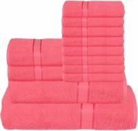 RR Textile House Cotton Bath, Hand & Face Towel Set 8 Face Towel, 2 Hand Towel, 1 Ladies Towel, 1 Bath Towel, Pink