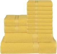 RR Textile House Cotton Bath, Hand & Face Towel Set 8 Face Towel, 2 Hand Towel, 1 Ladies Towel, 1 Bath Towel, Yellow