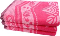 Mandhania Cotton Set Of Towels 3 Bath Towels, Pink
