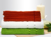 Story@home Cotton Bath & Face Towel Set 10 Pc Face Towel + 1 Pc Bath Towel + 1 Pc Bath Towel, Orange