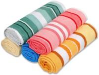 ShopSince Cotton Bath Towel ShopSince Multicolor Stripes Cotton Bath Towels Set Of 5, Multicolor