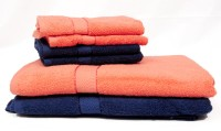 Trident Cotton Bath & Hand Towel Set 2 Bath Towels 30x60 Inches, 4 Hand Towels 16x24 Inches, Dark Blue, Orange