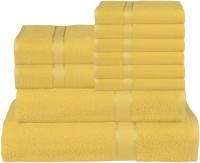 RR Textile House Cotton Bath, Hand & Face Towel Set Bath Towel 1, Ladies Towel 2, Hand Towel 6, 1 Face Towel, Yellow