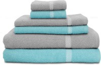 Swiss Republic Cotton Bath, Hand & Face Towel Set 2 Bath Towels, 2 Hand Towels, 2 Face Towels, Light Blue, Light Grey