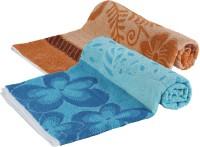 Goodway Stripes Cotton Bath Towel (Pack Of 2 Bath Towel, Brown, Blue)