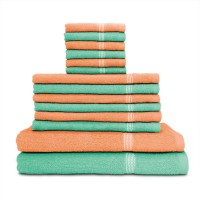 Swiss Republic Cotton Bath, Hand & Face Towel Set 2 Bath Towels, 6 Hand Towels, 6 Face Towels, Light Green, Light Pink