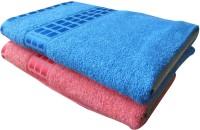 YNA Designer Cotton Bath Towel Set (2 Bath Towels, Blue, Pink)