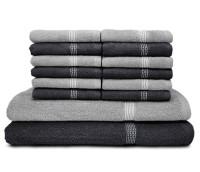 Swiss Republic Cotton Bath & Face Towel Set (2 Bath Towels, 12 Face Towels, Dark Grey, Light Grey)
