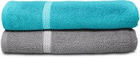 Swiss Republic Cotton Bath Towel (2 Bath Towels, Light Blue, Light Grey)