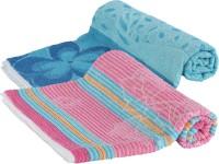 Goodway Stripes Cotton Bath Towel (Pack Of 2 Bath Towel, Blue, Pink)