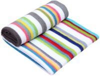 ShopSince Cotton Bath Towel ShopSince Multicolor Stripes Cotton Bath Towels Set Of 2, Multicolor