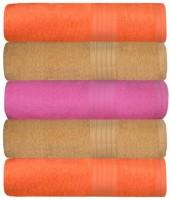 GRJ INDIA Cotton Bath Towel Set Of 5 Bath Towels, Peach