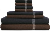 Swiss Republic Cotton Bath, Hand & Face Towel Set (2 Bath Towels, 2 Hand Towels, 4 Face Towels, Dark Brown, Dark Grey)