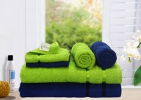 Story@home Cotton Bath, Hand & Face Towel Set 2 Pc Bath Towel, 2 Hand Towel, 2 Face Towel, Green