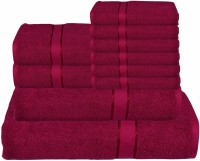RR Textile House Cotton Bath, Hand & Face Towel Set Bath Towel 1, Ladies Towel 2, Hand Towel 6, 1 Face Towel, Maroon