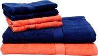 The Home Story Cotton Bath & Hand Towel Set 2 Bath Towels 30x60 Inches, 4 Hand Towels 16x24 Inches., Dark Blue, Orange