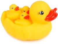 Baby World NonToxic Mother Duck And Kids Bath Toy (Yellow)