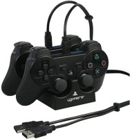 4gamers Dual Charge 'n' Stand Black Black, For PS3