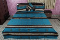 Rajcrafts Silk Double Bed Cover Blue, Bed Cover, Two Pillow Cover, Two Cushion Cover