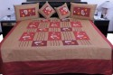 UFC Mart Maroon And Brown Silk With 4 Pillow Double Bed Cover