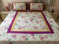 Minky's Decor & Fashion Cotton Double Bed Cover Beige, Purple, Beige