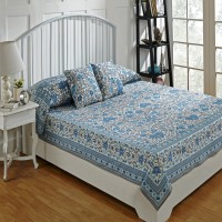 Ratan Jaipur Cotton Double Bed Cover Blue, Bed Cover, 2 Cushion Cover - BCVEBX4H9NGWZQRT